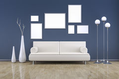 Blått rum med en soffa stock illustrationer