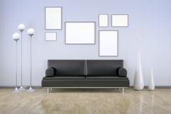Blått rum med en soffa royaltyfri illustrationer