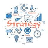 Blått runt strategibegrepp royaltyfri illustrationer