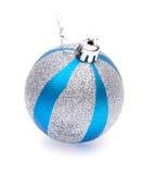Blått-silver julboll Royaltyfria Bilder