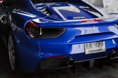 Blått slut för Ferrari 488 spindel upp Royaltyfri Fotografi