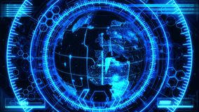 blått som 3D roterar bakgrund för HoloMatrix jordanimering stock illustrationer