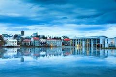 Blått stadshus Reykjavik Arkivbilder