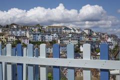 Blått staket Brixham Torbay Devon Endland UK Royaltyfria Foton
