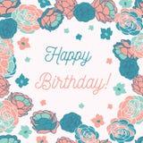 Blått steg kortet för hälsningen för vektorn för den lyckliga födelsedagen för trädgården det ditsy blom- vektor illustrationer