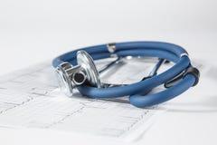 Blått stetoskop- och sjuksköterskalock Royaltyfri Fotografi