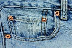 blått stilfullt myntjeansfack Fotografering för Bildbyråer
