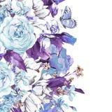 Blått stillar det blom- hälsningkortet för tappning Royaltyfria Bilder