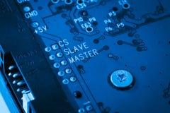 Blått strömkretsharddiskbräde Arkivbild