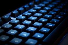 blått tangentbordneon Arkivbilder