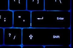 blått tangentbordneon royaltyfri bild
