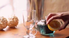 Blått te för fjärilsärta från blommaClitoria på tabellen i kafét Ett blom- blått thailändskt banta te Wellness Detox stock video