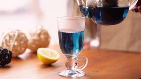 Blått te för fjärilsärtan för viktförlust från blommaClitoria på tabellen i kafét hälls in i en genomskinlig kopp lager videofilmer