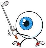 Blått tecken för maskot för ögonglobgolfaretecknad film som svänger en klubba royaltyfri illustrationer