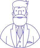 Blått tecken för symbolsvektorstående av den eleganta skäggiga hipsteren stock illustrationer