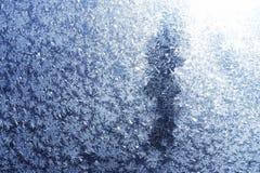 Blått texturerad bakgrund för snöflingarimfrost abstrakt begrepp Royaltyfri Fotografi