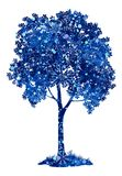 Blått träd för kastanj med julsnöflingor Royaltyfri Fotografi