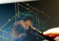 Blått tryck för CAD Arkivfoton