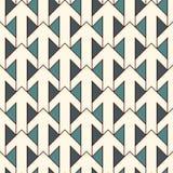 Blått tryck med att gripa in i varandra pilar Modern bakgrund med pekare Färgrika geometriska seamless mönstrar royaltyfri illustrationer