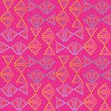 Blått utdraget skraj neon för hand, gula rosa trianglar med pricktextur Stam- sömlös modell för vektor på magentafärgat ne royaltyfri illustrationer