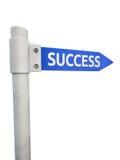 Blått vägmärke som leder till framgång Fotografering för Bildbyråer