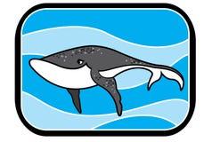 Blått val för tecknad film i havet Royaltyfri Foto