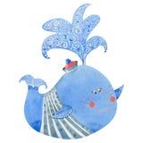 Blått val för vattenfärg Royaltyfri Bild