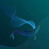 Blått val i djupen av havslinjen vektor Royaltyfria Bilder