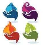 blått vatten för symboler för natur för droppgreenleaf Royaltyfri Fotografi