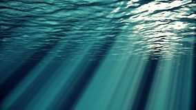 Blått vinkar, ultrarapid kretsad havyttersida som ses från undervattens- uhd, sömlösa strålar för öglan 4k av solljus som igenom  vektor illustrationer