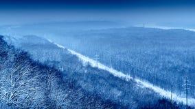 Blått vinterlandskap Victory Park Arkivfoton
