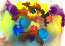 blått; violett; gulna, gräsplan och den apelsinakryl och vattenfärgen royaltyfri foto