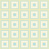 Blått-, vit- och gulingpolka passande Dot Square Abstract Design Tile Arkivbild