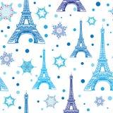 Blått vitt Eifel för vektor torn Paris och sömlös repetitionmodell för snöflingor Göra perfekt för themed vykort för ferielopp stock illustrationer