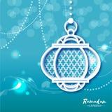 Blått vitt kort för Ramadan Kareem berömhälsning med origamiarabiskalampan stock illustrationer