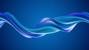 Blått vriden form för spiral 3D Royaltyfria Bilder