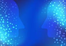 Blåttbakgrund för konstgjord intelligens och för teknologi för digitalt nätverk royaltyfri illustrationer