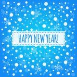 Blåttbakgrund för lyckligt nytt år med det vita kortet för snöflingavektorhälsning Royaltyfria Foton