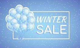 Blåttballonger övervintrar den säsongsbetonade försäljningsaffischen med snöflingor Royaltyfri Foto