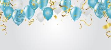 Blåttballonger, vektorillustration Berömbakgrundsmall vektor illustrationer