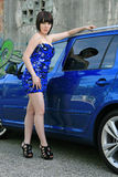 Blåttbilen royaltyfri foto