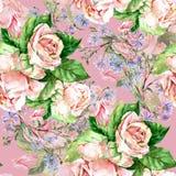 Blåttblommor och rosor, vattenfärg Royaltyfria Bilder