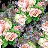 Blåttblommor och rosor, vattenfärg Royaltyfri Fotografi