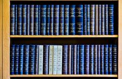 Blåttlag bokar i bokhylla Royaltyfri Foto