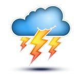 Blåttmoln med blixttecken för dåligt väder Royaltyfria Foton