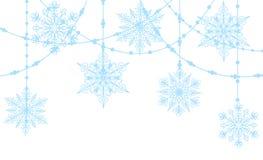 Blåttsnowflakes på vit stock illustrationer
