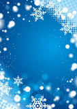 Blåttvinterbakgrund med snowflakes Royaltyfri Fotografi