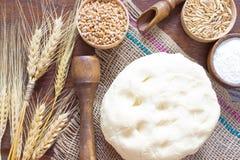 Blé et avoine dans des boîtes en bois Transitoires de blé et d'orge Photographie stock libre de droits
