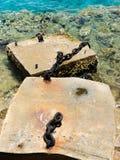 Blöcke des alten Hafens mit Ketten Lizenzfreie Stockfotos