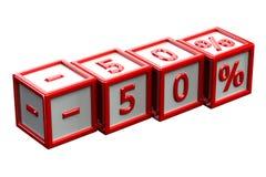 Blöcke mit Zeichen -50% Stockfotos